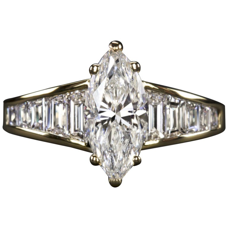 1.65 Carat Marquise Diamond Engagement Ring For Sale