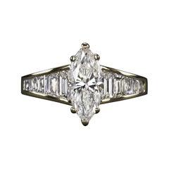 1.65 Carat Marquise Diamond Engagement Ring