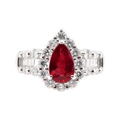 1.65 Carat, Natural, Burma, Pigeon's Blood Ruby and Diamond Ring Set Platinum