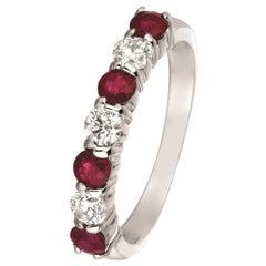 1.65 Carat Natural Diamond and Ruby 7-Stone Ring Band 14 Karat White Gold