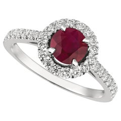 1.65 Carat Natural Diamond and Ruby Engagement Ring 14 Karat White Gold