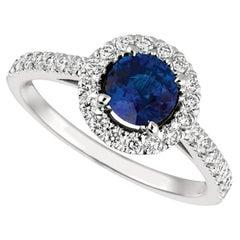 1.65 Carat Natural Diamond and Sapphire Engagement Ring 14 Karat White Gold