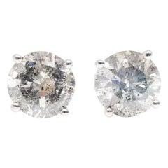 2.33 Carat Natural Diamond Round Studs