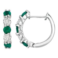 1.65 Carat Natural Emerald and Diamond Hoop Earrings G SI 14 Karat White Gold