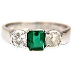 1.65 Carat Natural Emerald Cut Brilliant Emerald Diamond Ring 18 Karat Mod Deco