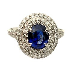 1.65 Carat Natural Royal Blue Madagascar Sapphire and Diamond Ring GIA Certified