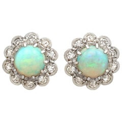 1.65 Carat Opal and Diamond, Yellow Gold Cluster Earrings