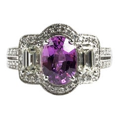 1.65 Carat Oval Cut Pink Rose Sapphire and Diamond Halo Ring in 18k White Gold