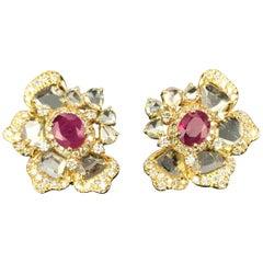 1.65 Carat Oval Ruby and Rose Cut Diamond Studs