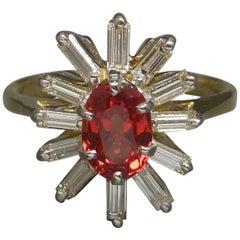 1.65 Carat Padparadscha Sapphire Solitaire & Baguette Diamond 18 Karat Gold Ring