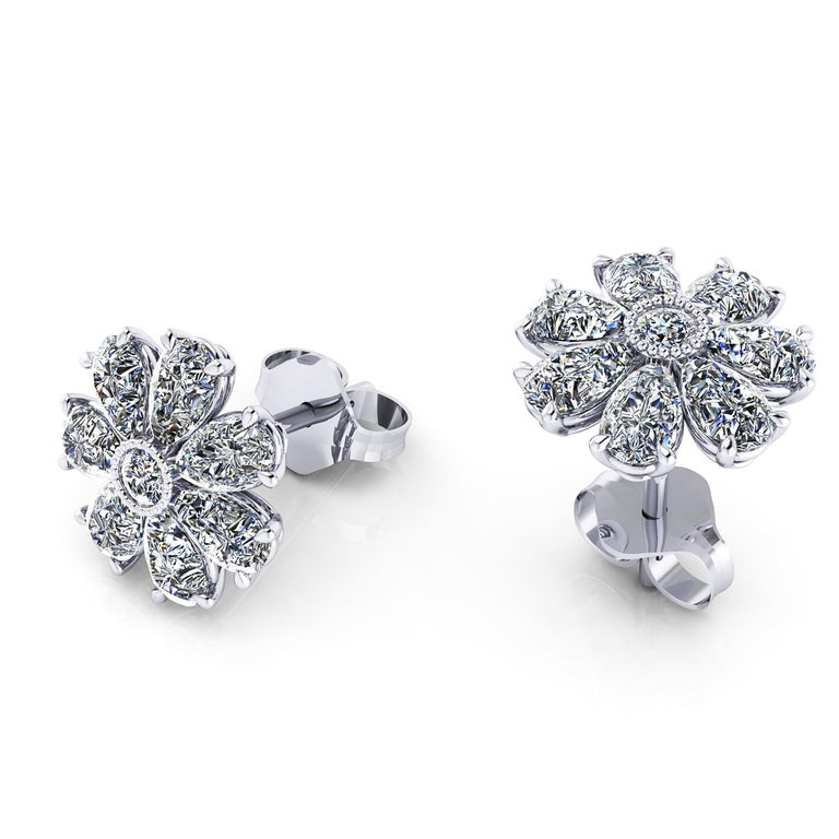 1.65 carat Pear Shape diamond Flower earring studs, conceived in Platinum 950 by FERRUCCI NEW YORK, with the best Italian craftsmanship in New York city, delicate and easy to wear in any occasion.