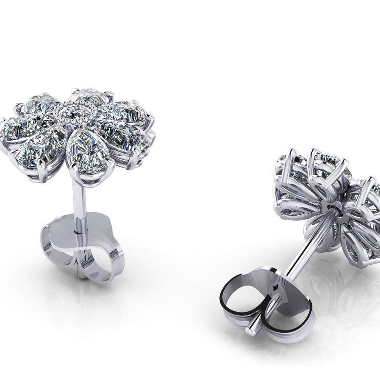 Art Nouveau 1.65 Carat Pear Shape Diamond Flower Earring Studs in Platinum 950 For Sale