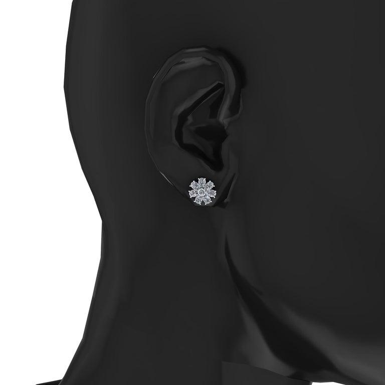 Pear Cut 1.65 Carat Pear Shape Diamond Flower Earring Studs in Platinum 950 For Sale
