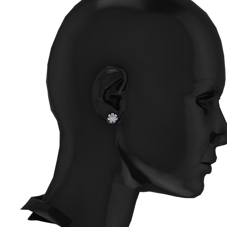 1.65 Carat Pear Shape Diamond Flower Earring Studs in Platinum 950 In New Condition For Sale In Lake Peekskill, NY