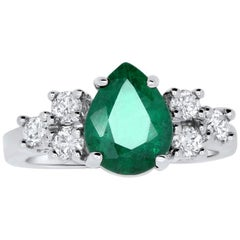 1.65 Carat Pear Shaped Emerald and Diamond Ring