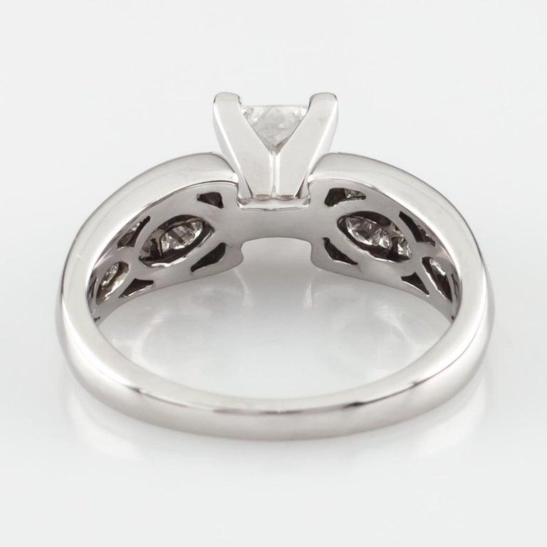 1.65 Carat Princess Cut Diamond 14 Karat White Gold Ring IGI Certified For Sale 3