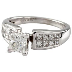1.65 Carat Princess Cut Diamond 14 Karat White Gold Ring IGI Certified