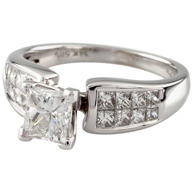 1.65 Carat Princess Cut Diamond 14 Karat White Gold Ring IGI Certified For Sale