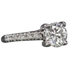 1.65 Carat Round Brilliant Cut Diamond Engagement Solitaire Ring