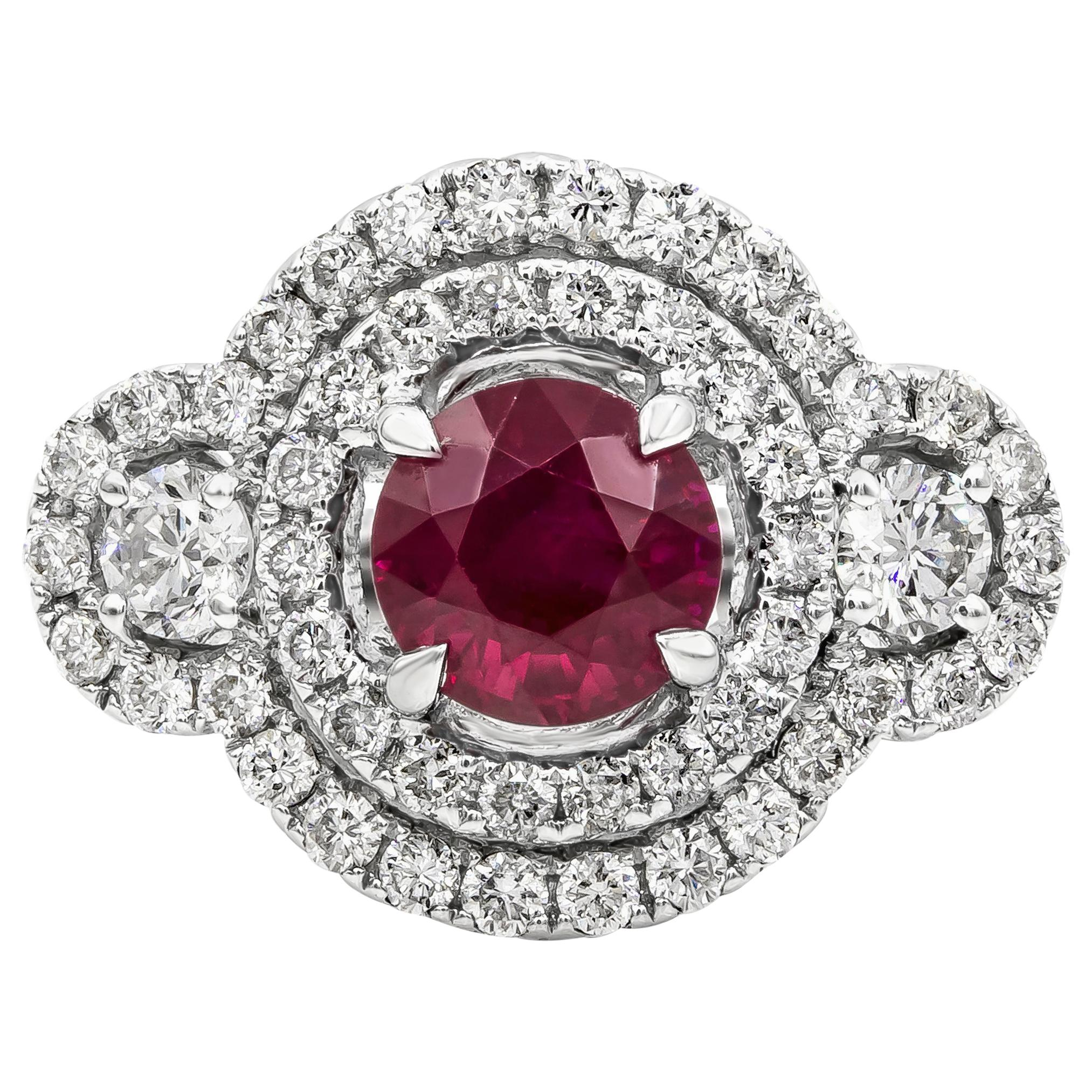 1.65 Carat Round Ruby and Diamond Three-Stone Double Halo Engagement Ring