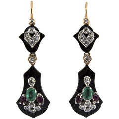 1.65 Carat Ruby Emerald White Diamond Onyx Yellow Gold Lever-Back Earrings