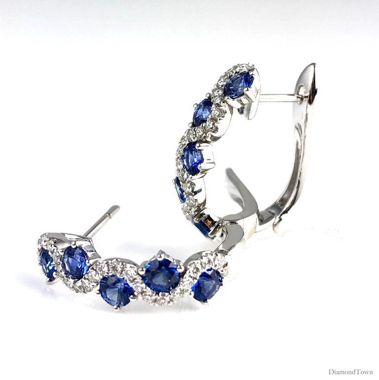 Contemporary 1.65 Carat Vivid Blue Sapphire and Diamond Lever-Back Stud Earrings in 18k Gold For Sale