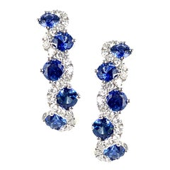 1.65 Carat Vivid Blue Sapphire and Diamond Lever-Back Stud Earrings in 18k Gold