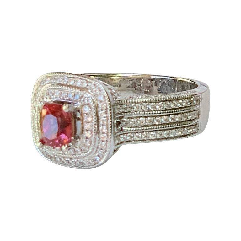 1.65 Carat Vivid Sparkling Pink Sapphire Diamond Double Halo White Gold Ring