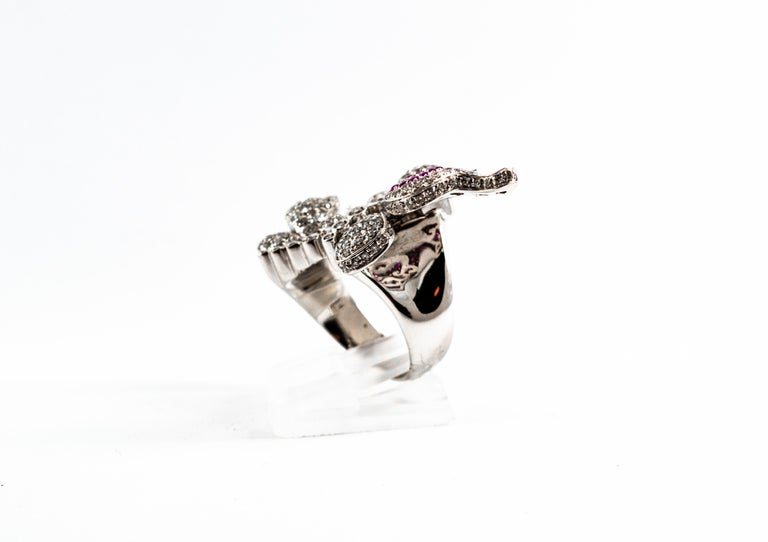 1.65 Carat White Diamond 0.15 Carat Ruby White Gold Butterflies Cocktail Ring In New Condition For Sale In Naples, IT