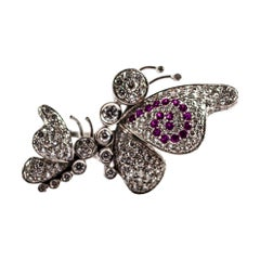 1.65 Carat White Diamond 0.15 Carat Ruby White Gold Butterflies Cocktail Ring
