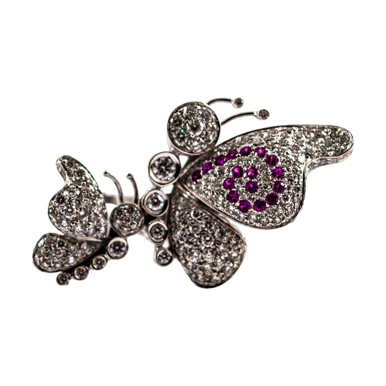 1.65 Carat White Diamond 0.15 Carat Ruby White Gold Butterflies Cocktail Ring For Sale