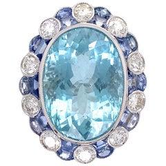 16.50 Carat Aquamarine Diamond Sapphire Platinum Ring Estate Fine Jewelry