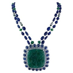165.32 Carat Carved Emerald, with Sapphire and Emerald Beads Necklace
