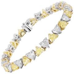 16.55 Carat Heart Shaped Yellow and White Diamond Bracelet
