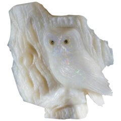 Heinz Postler Brazilian Opal Owl Carving, 1655 Carats, Idar-Oberstein