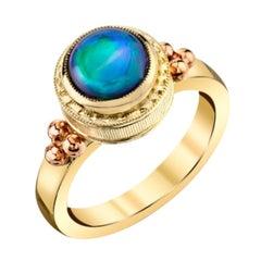 1.66 Carat Black Opal Rose and Yellow Gold Bezel Set Handmade Dome Signet Ring