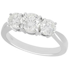 1.66 Carat Diamond and Platinum Trilogy Ring