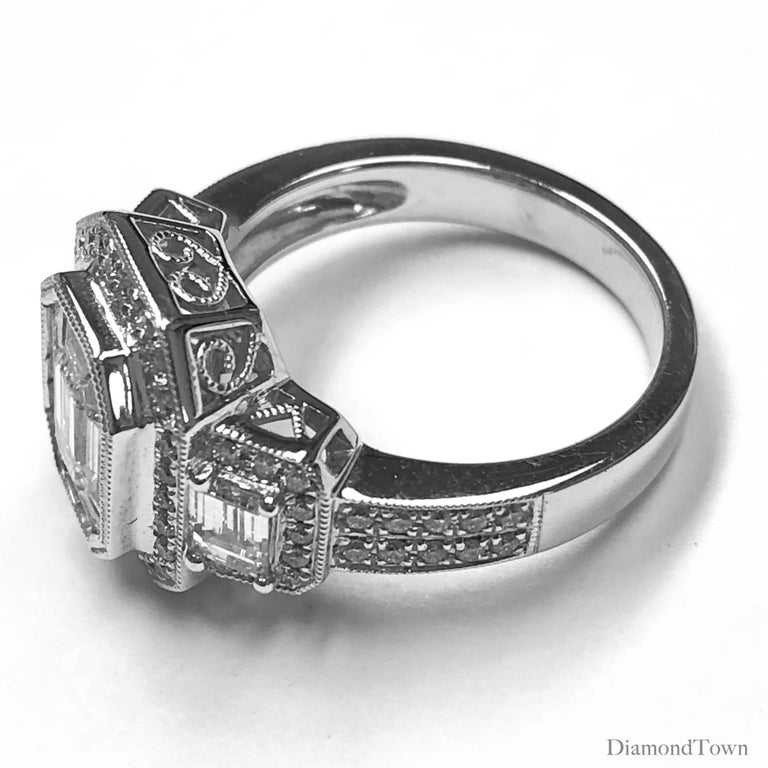 Contemporary 1.66 Carat Diamond Engagement Bridal Cluster Ring in 18 Karat White Gold For Sale