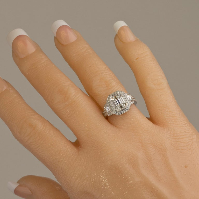 1.66 Carat Diamond Engagement Bridal Cluster Ring in 18 Karat White Gold In New Condition For Sale In New York, NY