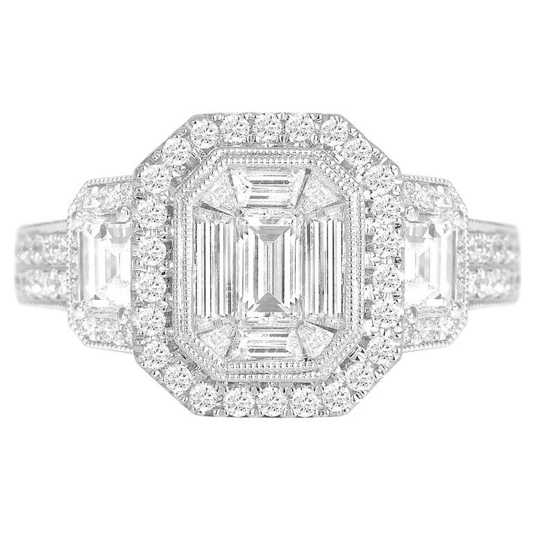 1.66 Carat Diamond Engagement Bridal Cluster Ring in 18 Karat White Gold For Sale