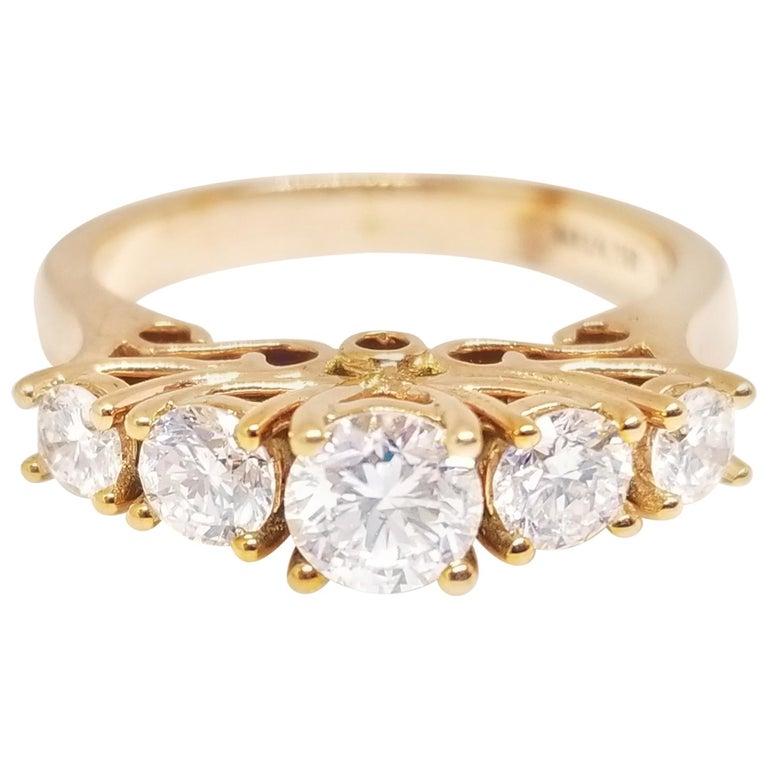 1.66 Carat Diamond Half Band 14 Karat Rose Gold Ring For Sale