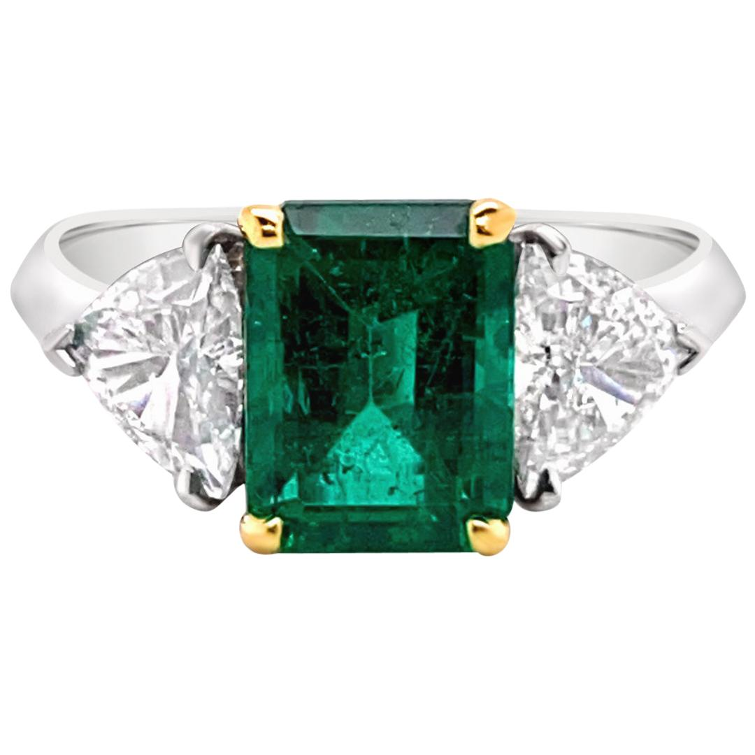 1.66 Carat Emerald and Diamond Ring in Platinum and 18 Karat Gold