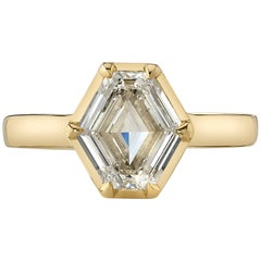 1.66 Carat Hexagonal Cut Diamond Set in an 18 Karat Yellow Gold Ring