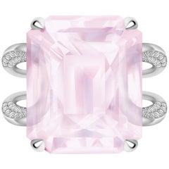 16.6 Carat Natural Pink Morganite Diamonds 14 Karat White Gold Ring
