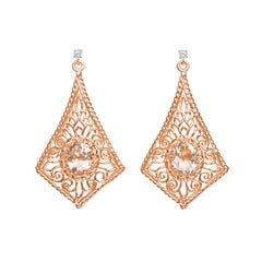 Oval Pink Morganite Diamond Rose Gold Earrings
