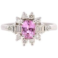 1.66 Carat Pink Sapphire Diamond 14 Karat White Gold Engagement Ring
