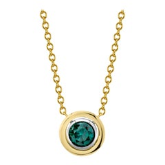 1.66 Carat Round Blue Diamond, Yellow, White Gold Bezel Pendant Chain Necklace