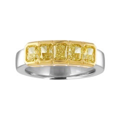 1.66 Carats Diamond Radiant Fancy Yellow 5-Stone Gold Platinum Half Band Ring