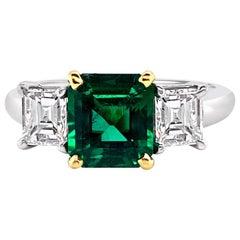 1.66 Carat Emerald and Diamond Ring in Platinum