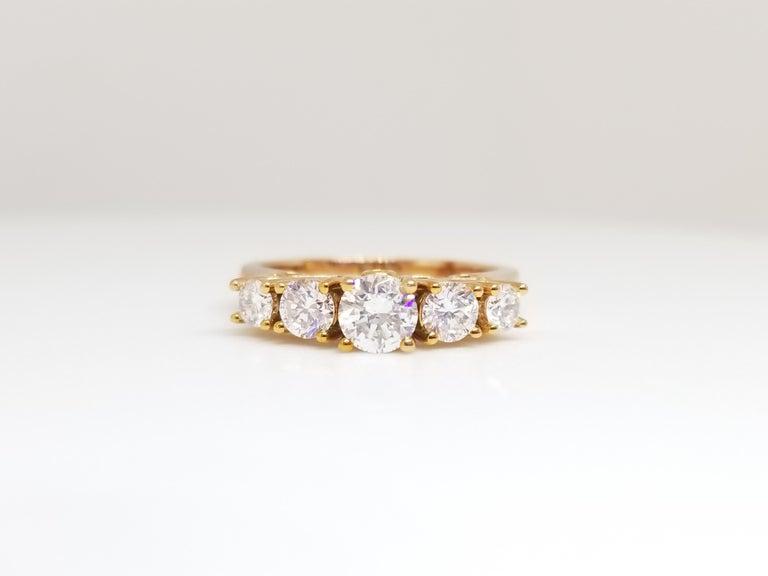 Round Cut 1.66 Carat Diamond Half Band 14 Karat Rose Gold Ring For Sale